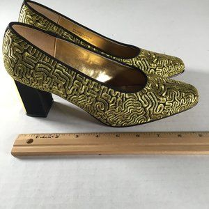 Dolce By Pierre Gold and Black Block Heels